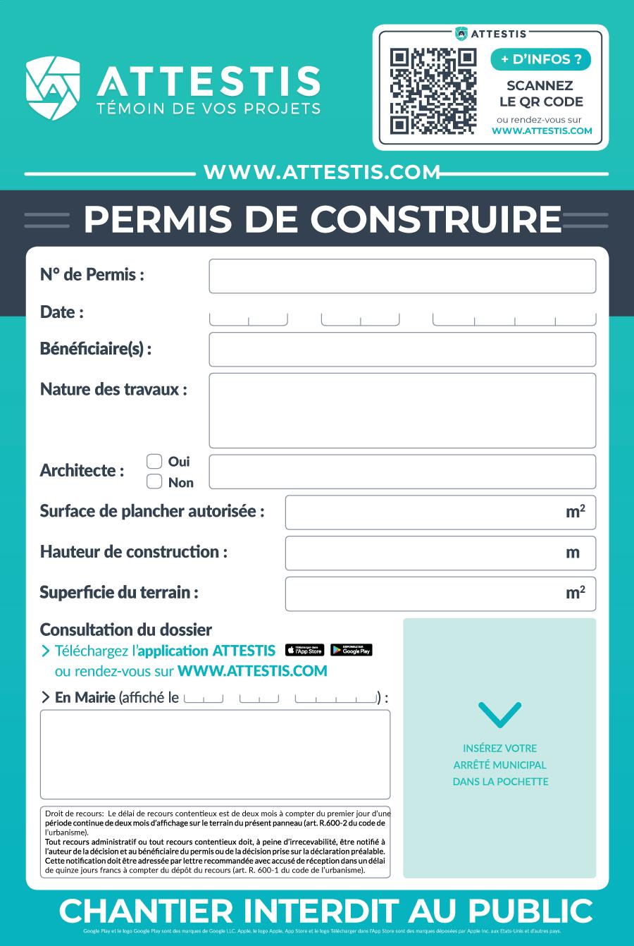Permis de construire obligatoire affichage obligatoire for Un permis de construire