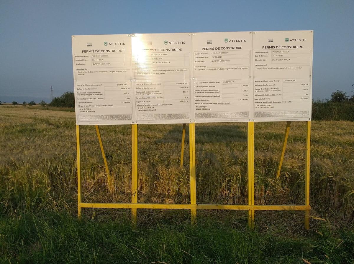 affichage des autorisations d'urbanisme pour un entrepôt de Quartus Logistique