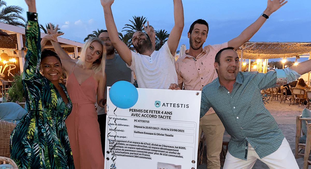 L'équipe Attestis fête les 4 ans de la société - rejoins-nous en postulant à une offre d'emploi
